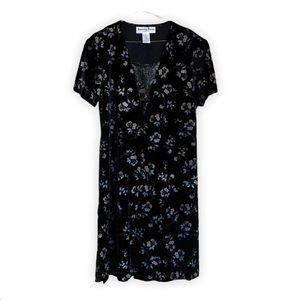 Another Thyme Vtg Shimmery Floral Velvet Dress